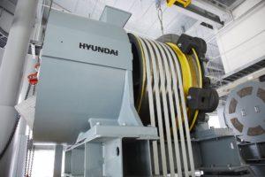 Hyundai elevator with carbon fiber belt